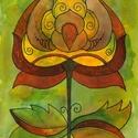 Ősz 3 Nyomat A/4-es, Dekoráció, Magyar motívumokkal, Kép, A kép művészpapírra készült nyomat, saját készítésű, eredetileg akvarell festékkel és alkoholos filc..., Meska