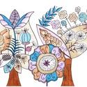 Virág a virágban, Dekoráció, Magyar motívumokkal, Kép, A kép saját tervezésű, színes ceruzával színezve. Eredeti, egyetlen példányban készült.  Mérete 21*3..., Meska