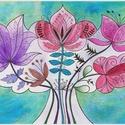 AngyalCsokor - falikép, Dekoráció, Magyar motívumokkal, Kép, A kép fehér DIPA-ra készült, saját tervezésű,  akvarell festékkel és alkoholos filccel.  Mérete 21*3..., Meska
