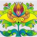 Tulipán - falikép, Dekoráció, Magyar motívumokkal, Kép, A/4-es fehér DIPA-ra készült tulipán motívum színes ceruzával színezve. Eredeti, egyetlen példányban..., Meska