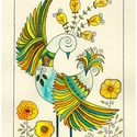Tavaszt álmodó - falikép, Dekoráció, Magyar motívumokkal, Kép, A/4-es, krém színű, bőrhatású kartonra rajzolt madár motívum, akvarell festékkel színezve. Eredeti, ..., Meska