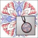 Mandalás nyaklánc, Ékszer, Nyaklánc, Saját tervezésű és készítésű mandala motívummal díszített, bronz színű nyaklánc. A 25 mm-es üveglenc..., Meska