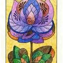 Tulipános falikép, Dekoráció, Magyar motívumokkal, Kép, A/4-es, krém színű, bőrhatású kartonra színes ceruzával készült, saját tervezésű tulipán motívum. Er..., Meska