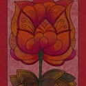 Tulipános falikép, Dekoráció, Magyar motívumokkal, Kép, A/4-es, bordó színű, bőrhatású kartonra színes ceruzával készült, saját tervezésű tulipán motívum. E..., Meska