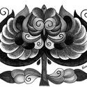Tulipános falikép, Képzőművészet, Dekoráció, Kép, Grafika, A/4-es kartonra alkoholos filccel rajzolt, szénceruzával színezett, saját tervezésű tulipán. ..., Meska