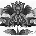 Tulipános falikép, Képzőművészet, Dekoráció, Kép, Grafika, A/4-es kartonra alkoholos filccel rajzolt, grafitceruzával színezett, saját tervezésű tulipán.  Ered..., Meska