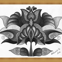 Tulipános falikép, Képzőművészet, Dekoráció, Kép, Grafika, A/4-es kartonra alkoholos filccel rajzolt, grafitceruzával színezett, saját tervezésű tulipán...., Meska
