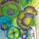 Virágos falikép, Képzőművészet, Dekoráció, Kép, Grafika, 14*20 cm-es kartonra alkoholos filccel rajzolt, akvarell festékkel és színes ceruzával színezett, sa..., Meska