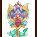 Tulipános falikép, Képzőművészet, Dekoráció, Kép, Grafika, 14*20 cm-es kartonra alkoholos filccel rajzolt, színes ceruzával színezett, saját tervezésű tulipán...., Meska