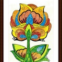 Tulipános falikép, Képzőművészet, Dekoráció, Kép, Grafika, A/4-es, bőrhatású, krémszínű kartonra alkoholos filccel rajzolt, színes ceruzával színezett, saját t..., Meska
