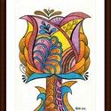 Tulipános falikép, Képzőművészet, Dekoráció, Kép, Grafika, A/4-es, bőrhatású, krémszínű kartonra alkoholos filccel rajzolt, porpasztell ceruzával színezett, sa..., Meska