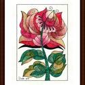 Tulipános falikép, Képzőművészet, Dekoráció, Kép, Grafika, Fotó, grafika, rajz, illusztráció, Festészet, A/4-es, bőrhatású, krémszínű kartonra alkoholos filccel rajzolt, színesceruzával színezett, saját t..., Meska