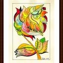 Tulipános falikép, Képzőművészet, Dekoráció, Kép, Grafika, A/4-es, bőrhatású, krémszínű kartonra alkoholos filccel rajzolt, akvarell festékkel és színes ceruzá..., Meska