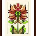 Tulipános falikép, Képzőművészet, Dekoráció, Kép, Grafika, A/4-es, bőrhatású, krémszínű kartonra alkoholos filccel rajzolt, színesceruzával színezett, saját te..., Meska