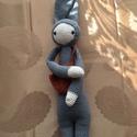 Lalylala horgolt nyuszi, Játék, Baba-mama-gyerek, Plüssállat, rongyjáték, Játékfigura, Horgolás, Lalylala Tina rabbit mintája alapján készült, de módosított, egyedi nyuszi, táskával.  A nyuszi sze..., Meska