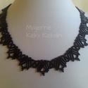 Fekete szalmagyöngyös nyaklánc, Ékszer, Nyaklánc, Cseh kásagyöngyből, és szalmagyöngyből fűzött ,fekete színű gyöngyszalag.Hossza:  43cm, s..., Meska