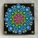 Tavirózsa mandala, Dekoráció, Kép, Kézzel festett vászonkép, színes mandala mintával. Akril festékkel készült, selymes fényű ..., Meska