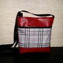 Kockás táska, Táska, Csodaszép piros   textilbőrből és kockás vászonnal kombináltam táskát, merevített béléss..., Meska