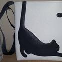 Cicás táska, Táska, Varrás, Fehér  textilbőrből készítettem a szürke cicás  táskát, merevített béléssel készült, Mérete 37cm *3..., Meska