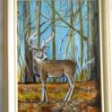 Szarvasbika 2 . Festmény, Dekoráció, Otthon, lakberendezés, Kép, Falikép, 15 x 20 cm-es képre szarvasbikát festettem. Az állat a lombját már lehullató erdőben áll. Háttérben ..., Meska