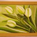 A tavasz diszkrét bája. Festmény, Dekoráció, Otthon, lakberendezés, Kép, Falikép, 24 x 17 cm-es natúr színű képkeretbe, fehér tulipánokat festettem. A tulipánok átlósan lógnak bele a..., Meska