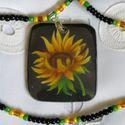 Nyári napraforgó, Ékszer, Medál, Nyaklánc, Zsugorkából, többszörös fúzióval készült az ékszer, melyen a nyár legdekoratívabb virága, a naprafor..., Meska