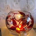 Őszi vadszőlős  mécsestartó, Egy alul 10 cm átmérőjű, felül 11 cm szájú,...