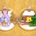 Gömbben dísz. Házikó, angyal szett 2 db, 7 cm átmérőjű akril gömbbe karácsonyfa dísz...