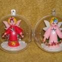 Karácsonyi angyalok. /szett/, 7 cm átmérőjű akril gömbbe karácsonyi angyal...