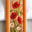 Nyár,  rézdombornű, Dekoráció, Otthon, lakberendezés, Kép, Falikép, Fémmegmunkálás, Festett tárgyak, 30 x 14 cm-es, narancsos színű keretbe, nyári képet készítettem, melyen a nyár pompás virágait, a p..., Meska
