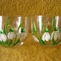 Hóvirágos páros teázó, Konyhafelszerelés, Bögre, csésze, Két 3 dl-es  üveg, teás bögrére hóvirágos mintát festettem. Mindkét bögrén azonos mintát  festettem,..., Meska