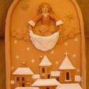 Mesés tél. Kerámia kép, 31 x 19 cm-es, felül ívelt, vékony kerettel ell...