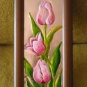 Hej tulipán, tulipán, 29 x14 cm-es , barna képkeretbe rézdombormű ké...