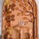 Ősz-Kerámia kép, Dekoráció, Otthon, lakberendezés, Kép, Falikép, 32 x 22 cm-es kerámia képre az őszi erdő jellegzetességeit mintáztam meg, a szarvasbőgést,  a barnul..., Meska