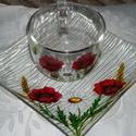 Nyári teázó, Konyhafelszerelés, Bögre, csésze, Tálca, Egy szögletes, 20 x 20 .cm oldalú, üveg tányérra, és egy öblös, 3 dl-es, üveg bögrére nyári virágoka..., Meska