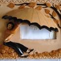 Esernyős csengővédő fekete kerítésre, 24 x 20 cm-es, fekvő téglalap alakú, képkerett...