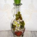 Tökmagolajos kínáló kancsó-a, 23 cm magas, zöld műanyag dugóval ellátott kis...