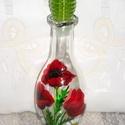 Nyári virágos ecetkínáló kancsó, Konyhafelszerelés, Otthon, lakberendezés, 23 cm magas üvegkancsóra nyári virágokat festettem, pipacsokat, margarétát,és asztali ecet kínáló ka..., Meska
