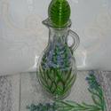 Levendulás olaj kínáló, Konyhafelszerelés, Kancsó , 20 cm magas, kancsó, zöld műanyag dugóval ellátott. Levendula virágokat festettem az oldalaira. Egyi..., Meska