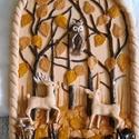 Az őszi erdő meséje. Kerámia dombormű, Dekoráció, Otthon, lakberendezés, Kép, Falikép, 23 x 32 cm-es kerámia domborművön az őszi erdő meséje elevenedik meg. Az erdőben találkoztak a nagy ..., Meska