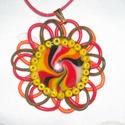 Tűzvirág medál, Ékszer, Nyaklánc, Medál, A medál ékszer gyurmából készült, és  kör alakú. A medál közepén a tűz színeiből tekert örvény medál..., Meska