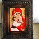 Isten anya, réz ikon, Dekoráció, Otthon, lakberendezés, Kép, Falikép, Egy sötétbarna, szolidan díszes keretbe, réz ikont készítettem. A képet a rézlemezből domborítottam ..., Meska