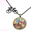 J'adore Paris, Ékszer, Medál, Nyaklánc, Üveglencsés technikával 30mm medállal készült 48cm hosszú nyaklánc. Biciklis fém medállal ..., Meska