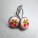 Cseresznyés fülbevaló, Ékszer, Fülbevaló, 12 mm cseresznyés textilgomb fülbevaló francia kapcsos. , Meska