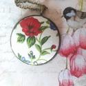 Big garden nyaklánc, Ékszer, Medál, Nyaklánc, Virágos anyaggal behúzott gombot helyztem 40 mm bronz alapba. A lánc kb 60 cm., Meska
