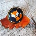 Fox say - textilgomb gyűrű, Ékszer, Gyűrű, 25 mm textilgomb bronz állítható méretű gyűrűalapban. Nikkelmentes., Meska