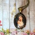 Vintage love nyaklánc, Ékszer, Medál, Nyaklánc, Egyik kedvenc témám az Anyaság, amihez most egy régebbi festményt választottam.  25x18 mm üveglencse..., Meska