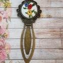 Virágzás textilgomb könyvjelző, Naptár, képeslap, album, Könyvjelző, Antik bronz díszes könyvjelző 20 mm virágos textilgombbal., Meska