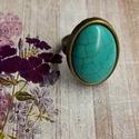 Türkiz gyűrű, Ékszer, Gyűrű, Ovális gyűrű (18×25) türkiz cabochonnal. Állítható méret, nikkelmentes., Meska