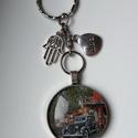 Kulcstartó apának, Mindenmás, Kulcstartó, 30 mm autós üveglencsés medál kulcstartón charmokkal díszítve., Meska